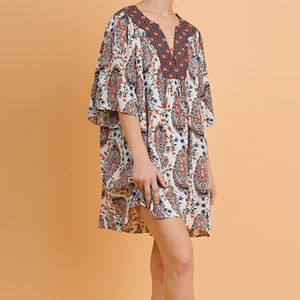 UMGEE paisley mix Print loose fit boho tunic